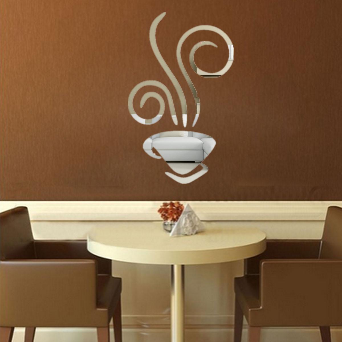 Tea coffee cup modern mirror wall home bar cafe decal for Tea and coffee wall art