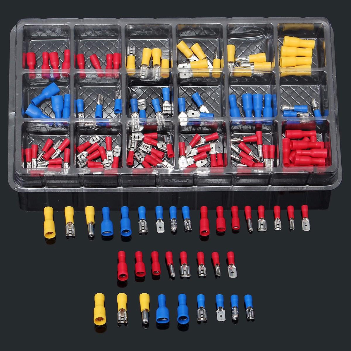 connecteurs de Fils thermor/étractables Lot de 100 connecteurs thermor/étractables cosses /électriques Femelles et m/âles isol/ées /à sertir /étanches pour Les Voitures