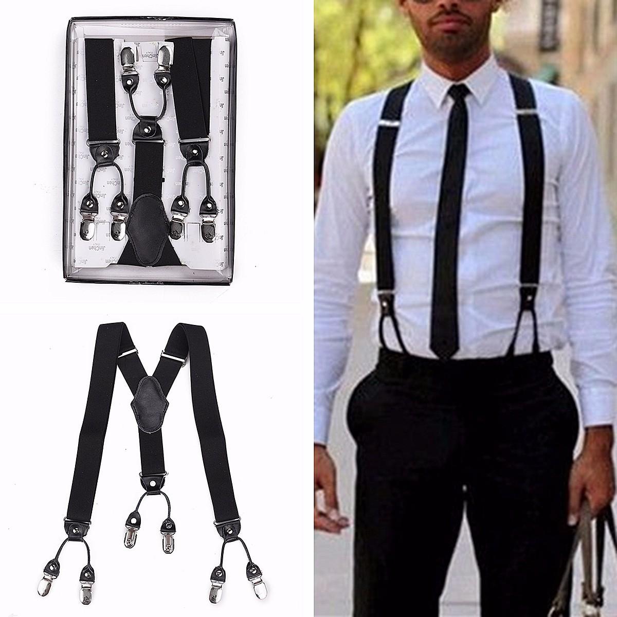 la vente de chaussures prix abordable remise spéciale Bretelle 6 Clips Noir Pantalon Réglable Y-forme Elastique Boucle Suspender  Homme