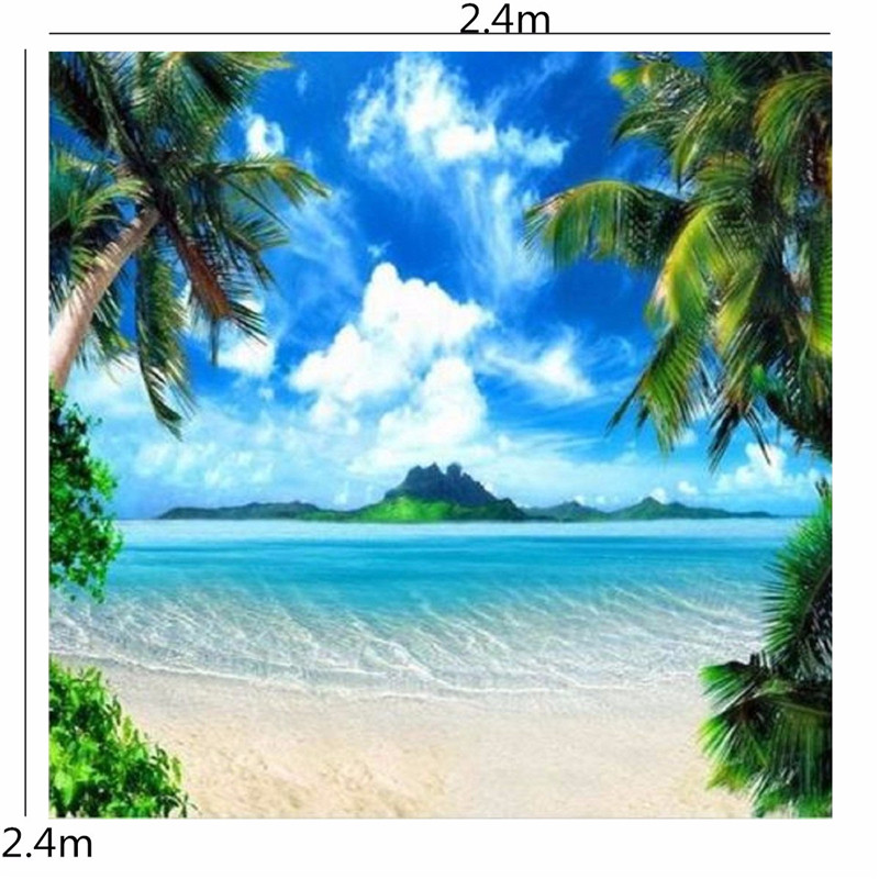 8x8ft Palm Tree Sea Island Beach Custom Photo Studio