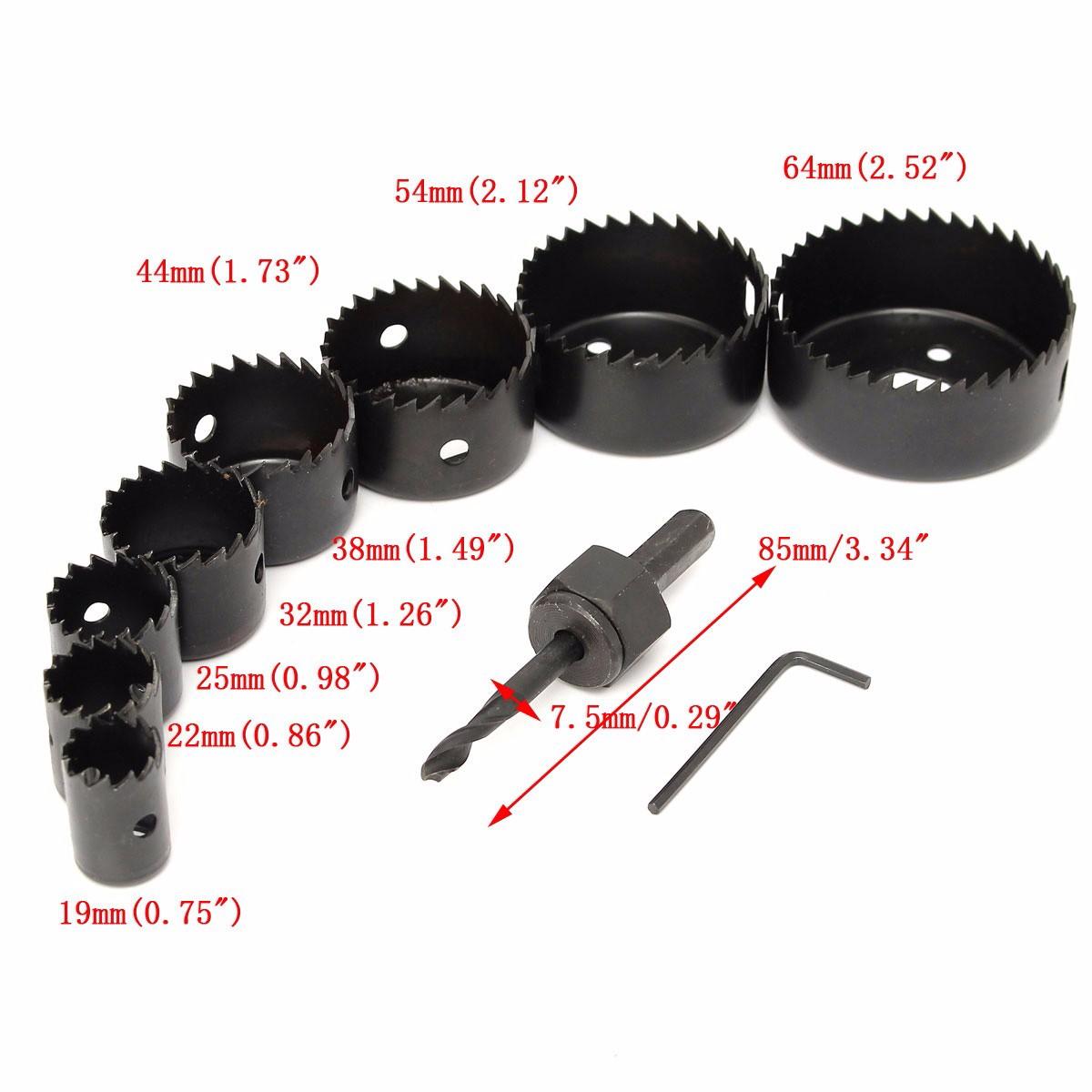 scie cloche 8 pieces de 19 64 mm drill bit hss foret meche. Black Bedroom Furniture Sets. Home Design Ideas