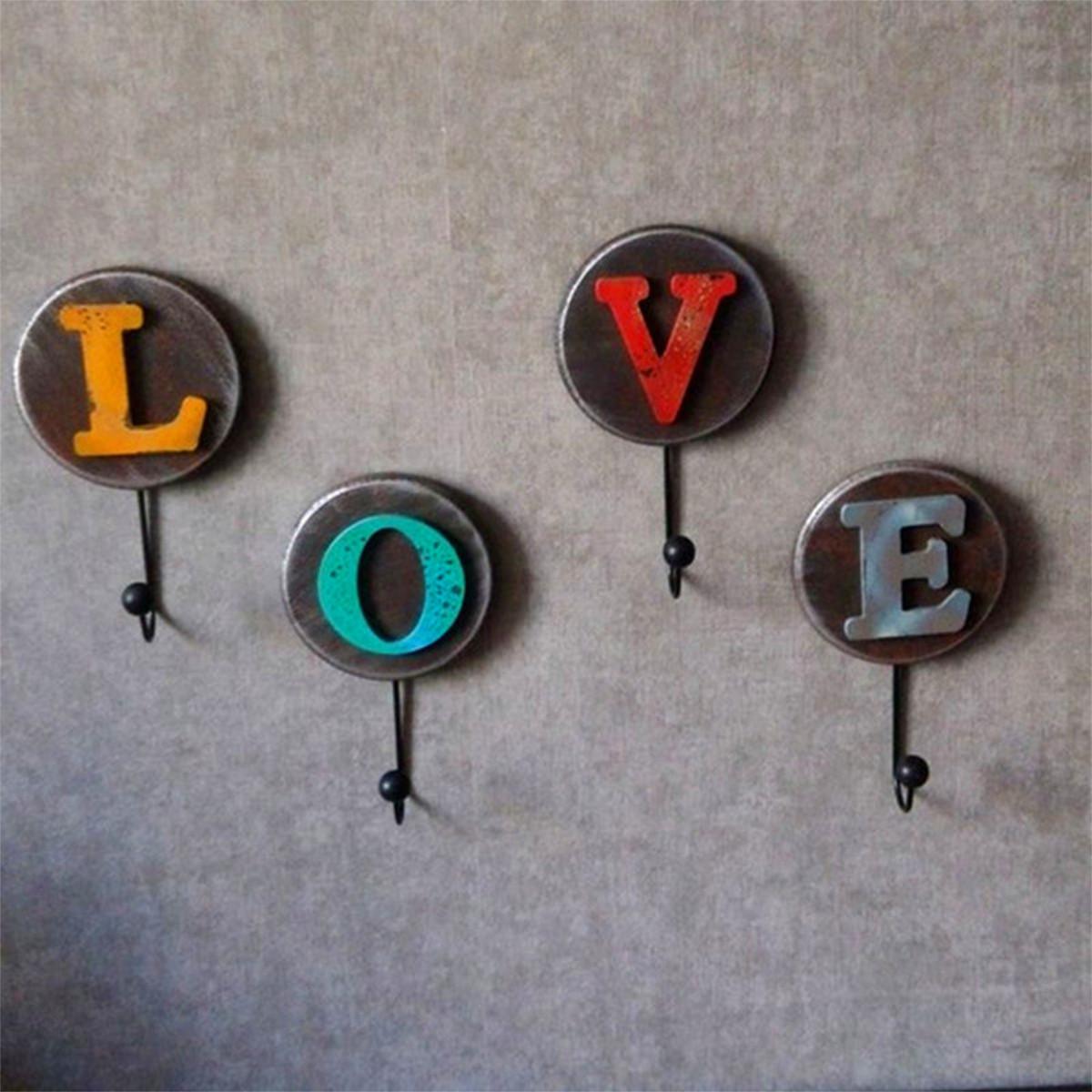 One set vintage white love hook clothes robe key holder hat hanger wall home decoration lazada - Vintage hotel key rack ...