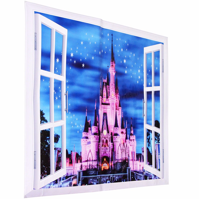 3d princess castle star window view wall decals stickers for Castle window mural