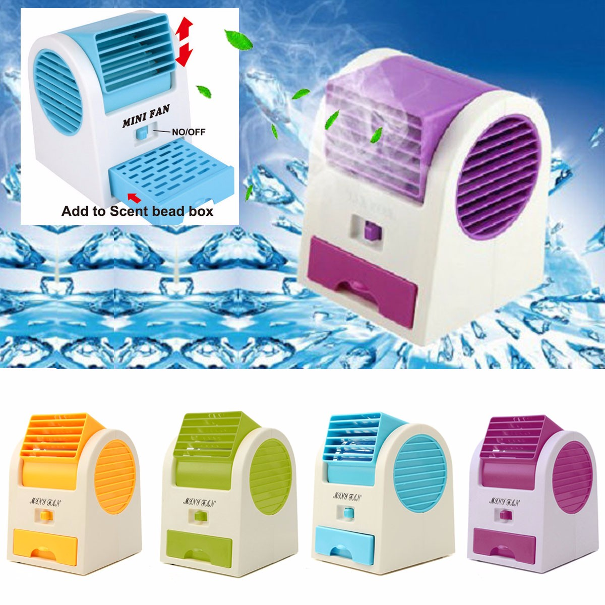 Mini Cooling Fan USB Battery Operated Portable Air Conditioner Cooler  #084D90