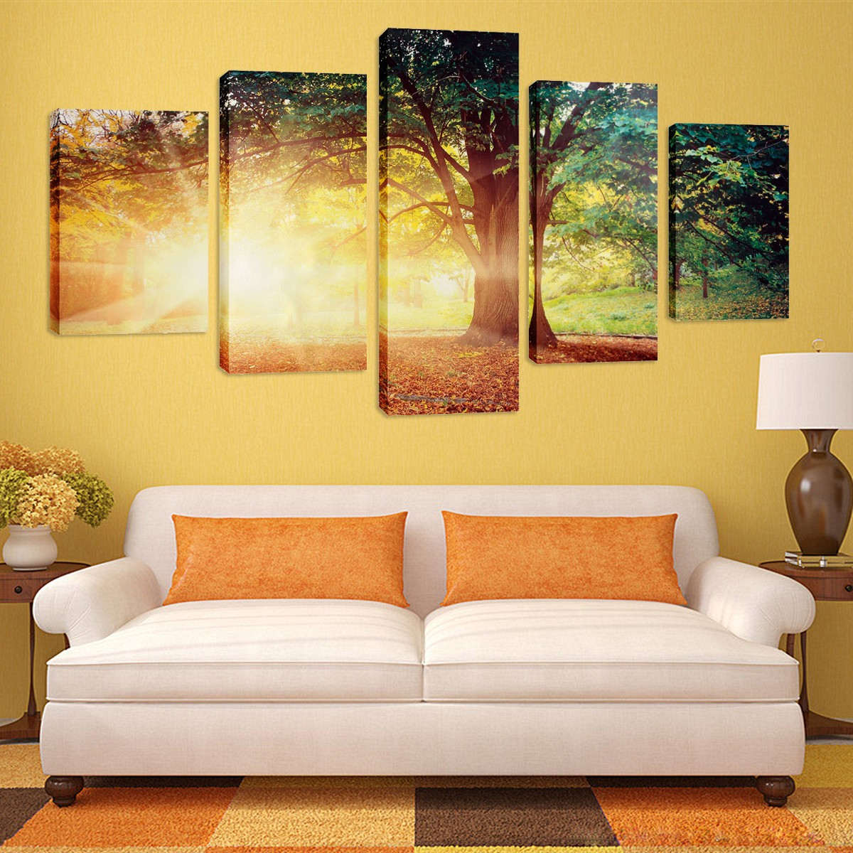 5 panels beautiful tree canvas oil painting huge modern abstract wall art home decoration - Latest beautiful wall decoration ...