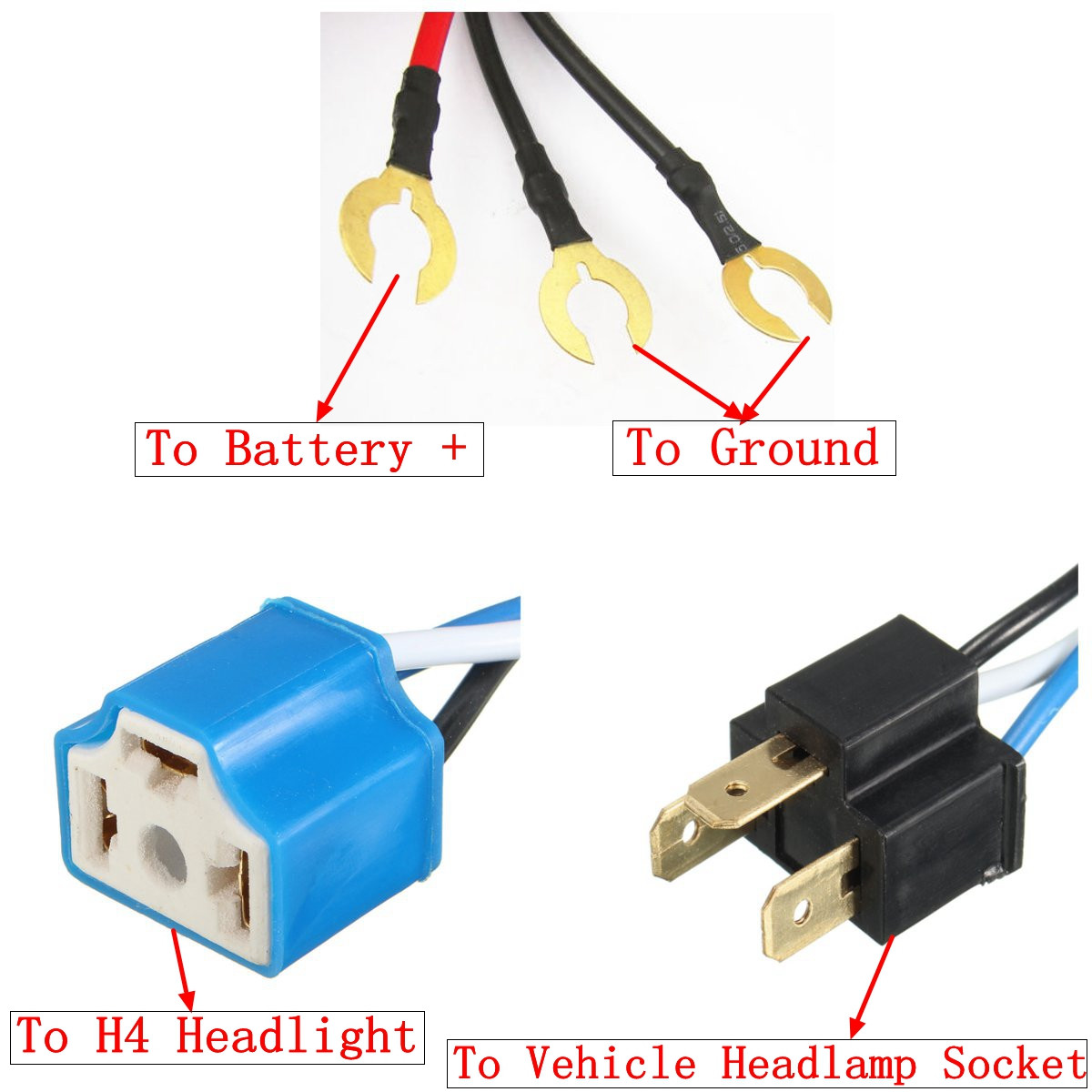 H4 Jk Wiring Harness Everything About Diagram T3 Light Fixture Headlight 2 Headlamp Relay Car Custom Auto Wire