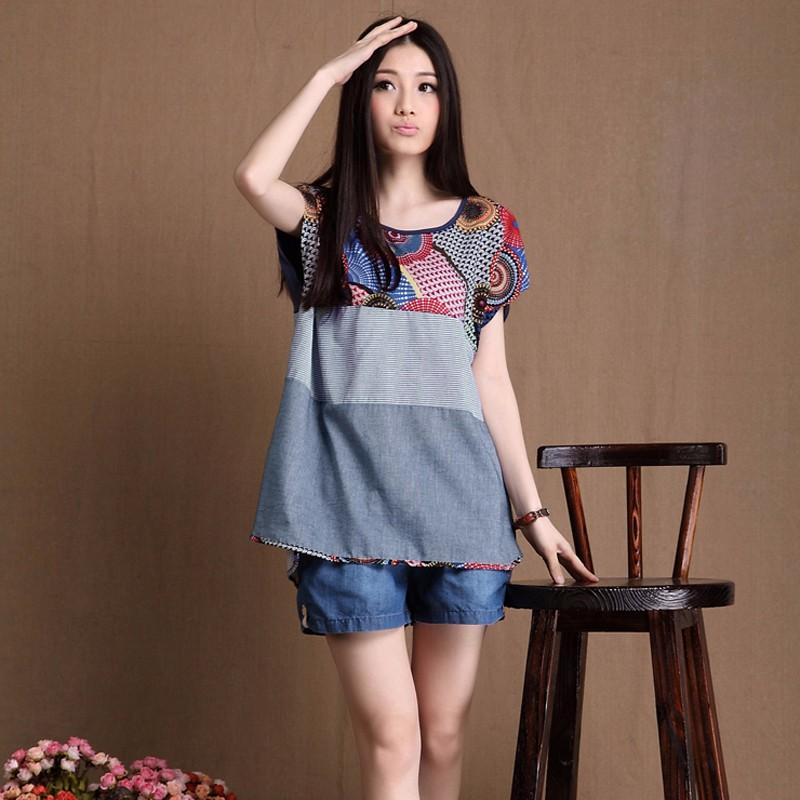 Vintage Women Floral Print Tops Blouse Cotton Linen Shirt