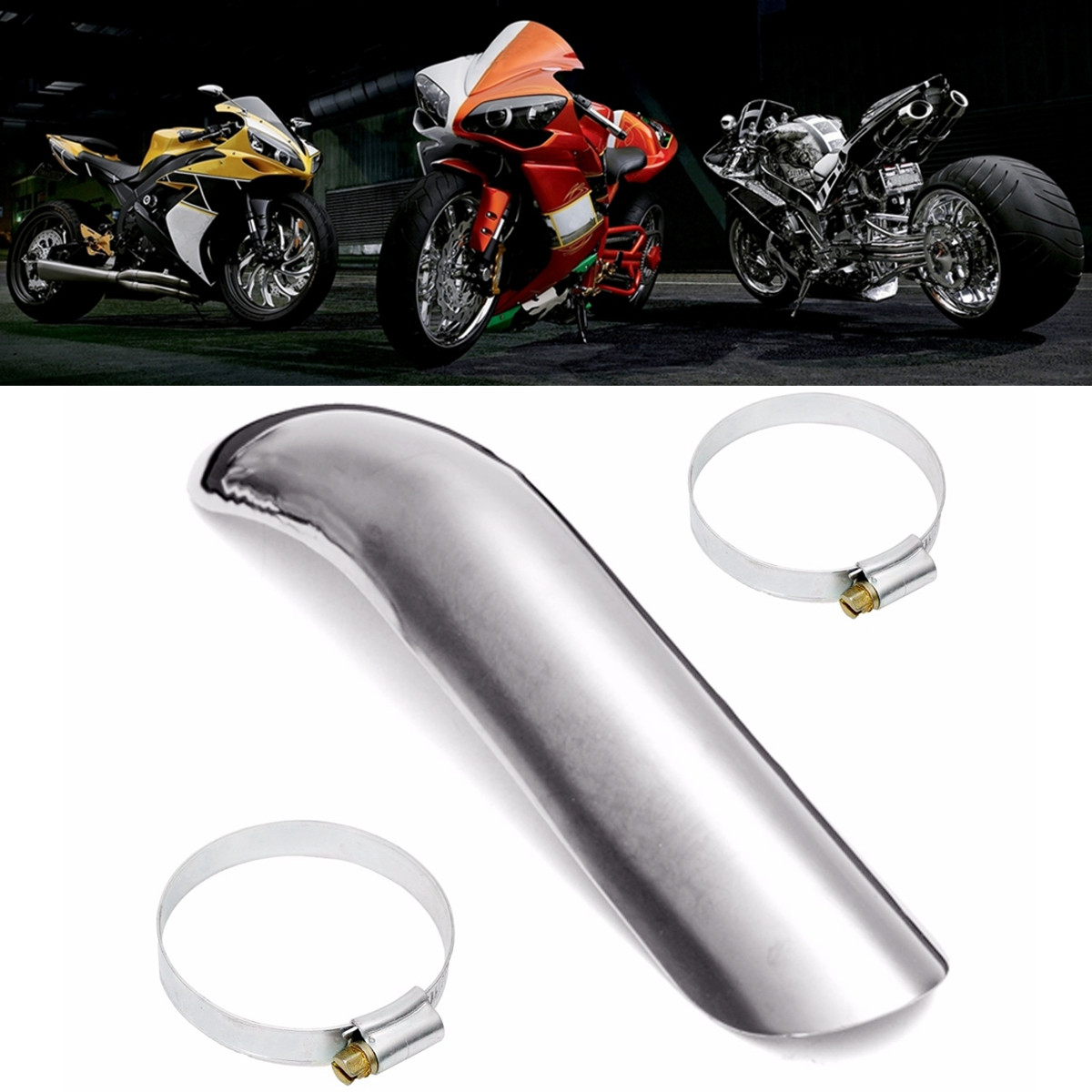 Generic Steel Heat Shield Curve Exhaust Pipe Cover Heel Guard Clamp