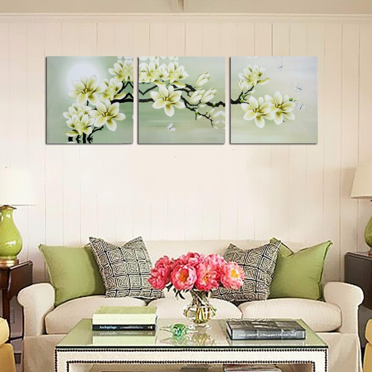3Pcs Magnolia Spray Oil Paint Flower Painting Triptych