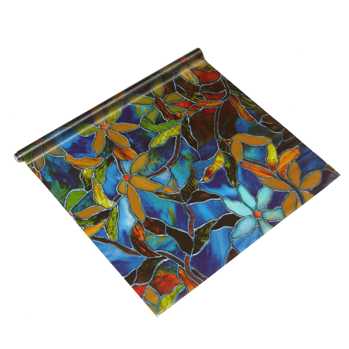 100 45cm static cling cover stained flower glass window for Make your own stained glass window film