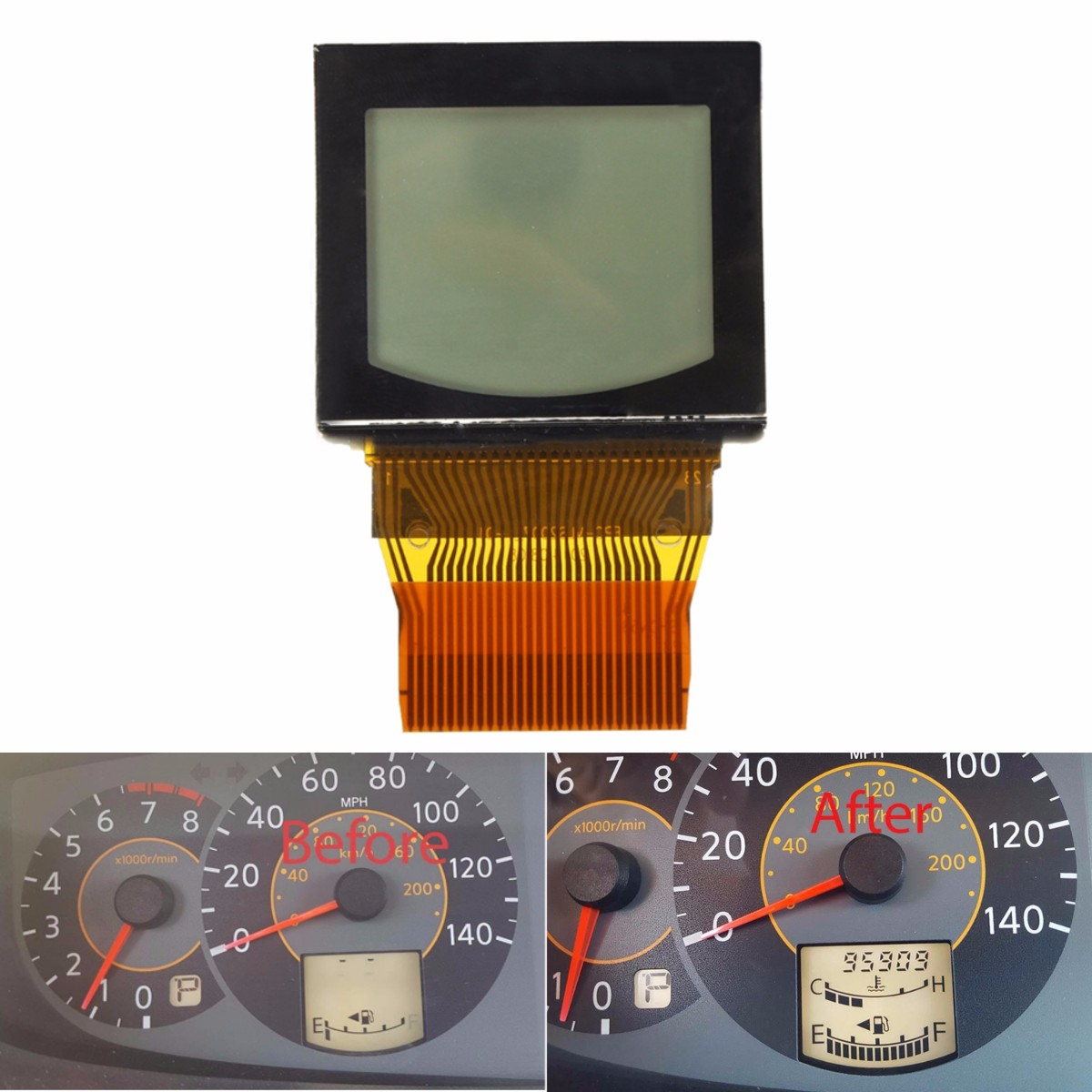 Generic Cluster Odometer Speedometer LCD Display Screen for