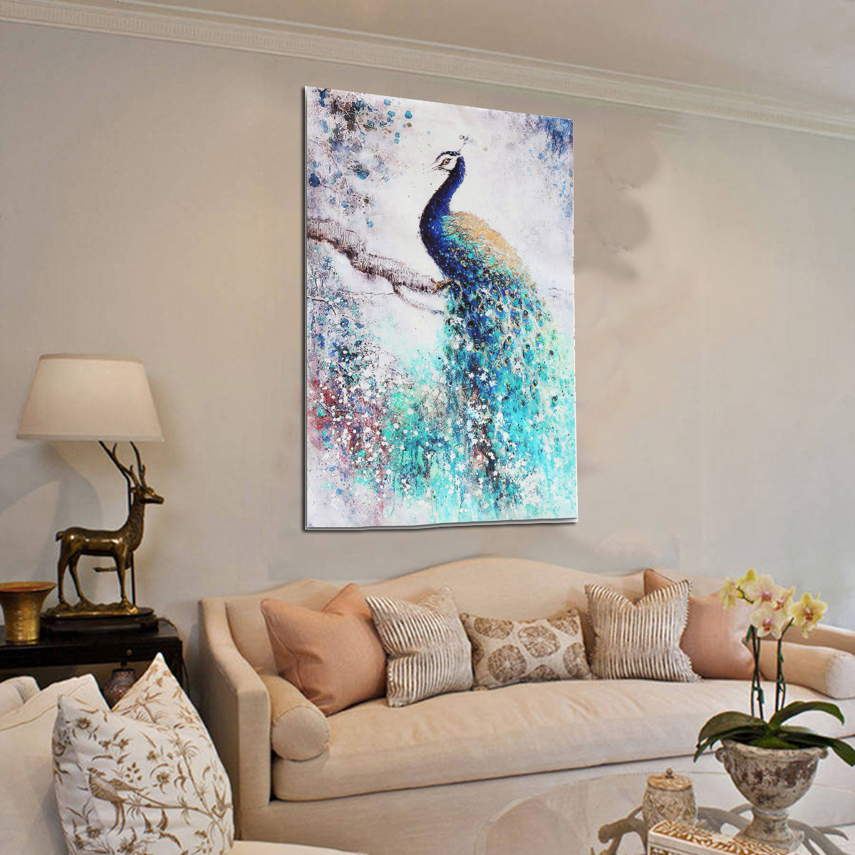 Peacock Living Room Decor Peacock Hd Unframed Canvas Print Peacock Art Painting Picture Wall