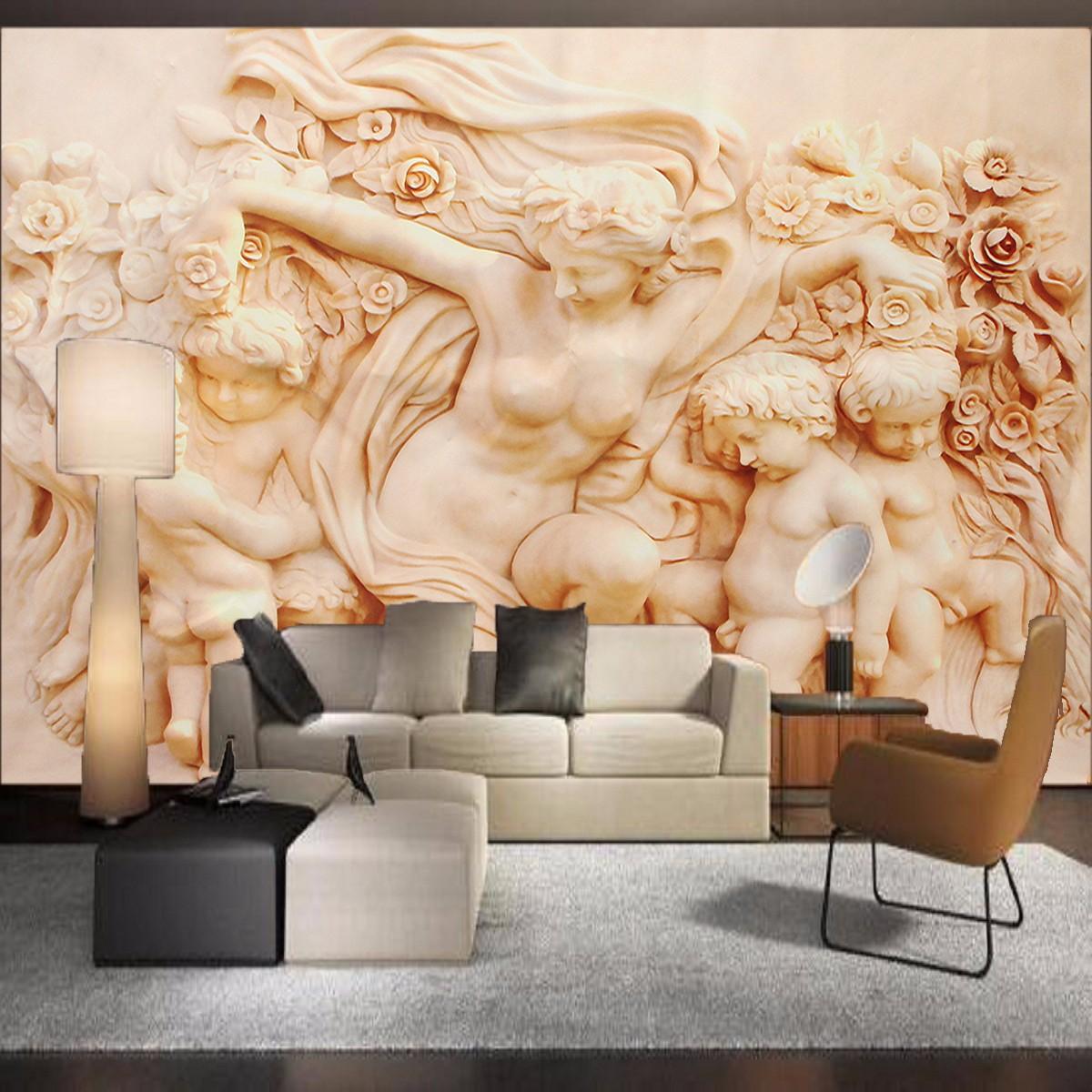 3d papier peint autocollant angel style romain mural art for Papier peint relief 3d