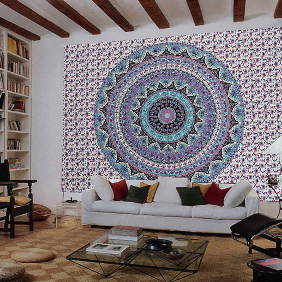 tapis indian ombre mandala plage tenture murale 200x140cm. Black Bedroom Furniture Sets. Home Design Ideas