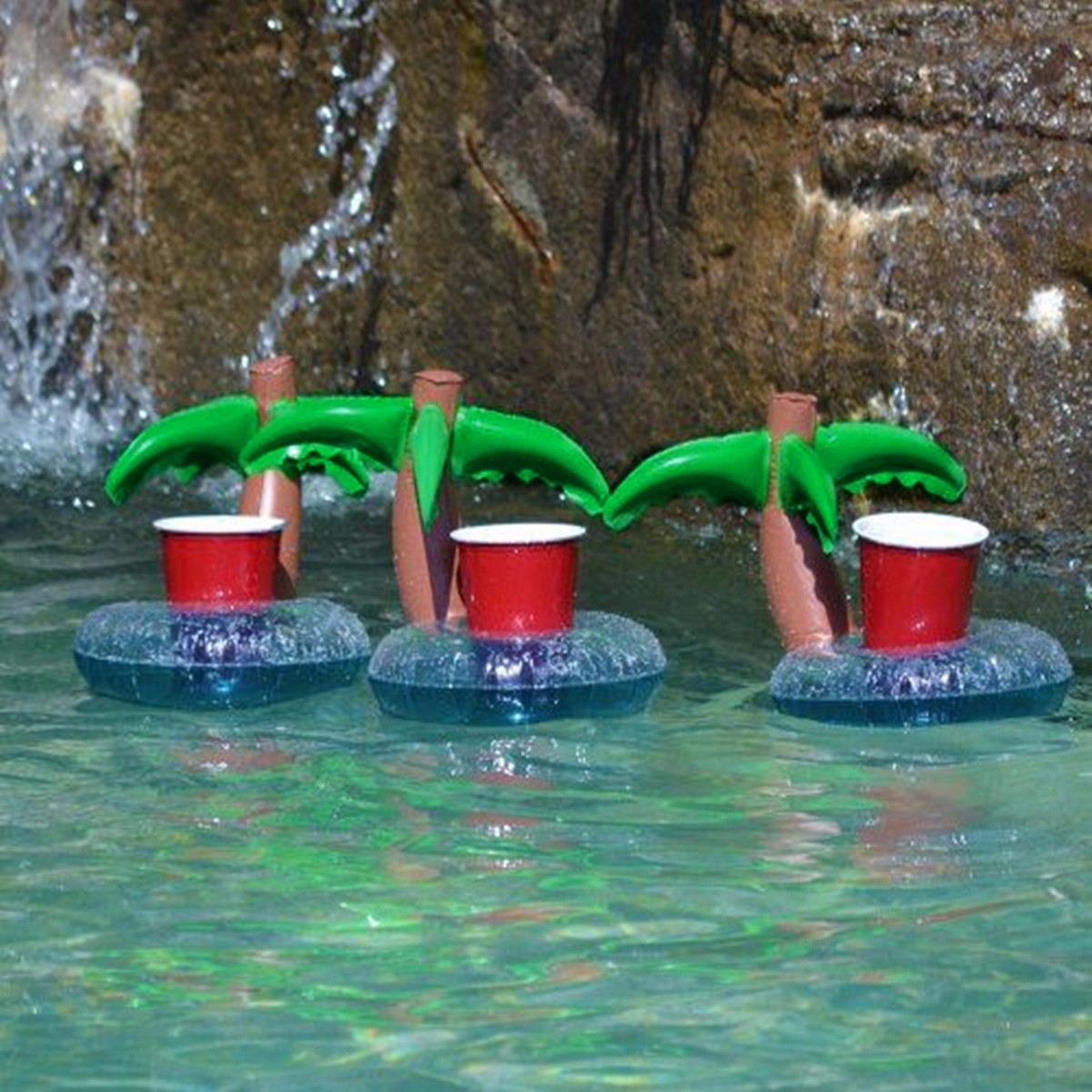 New Inflatable Coconut Tree Floating Drink Can Holder