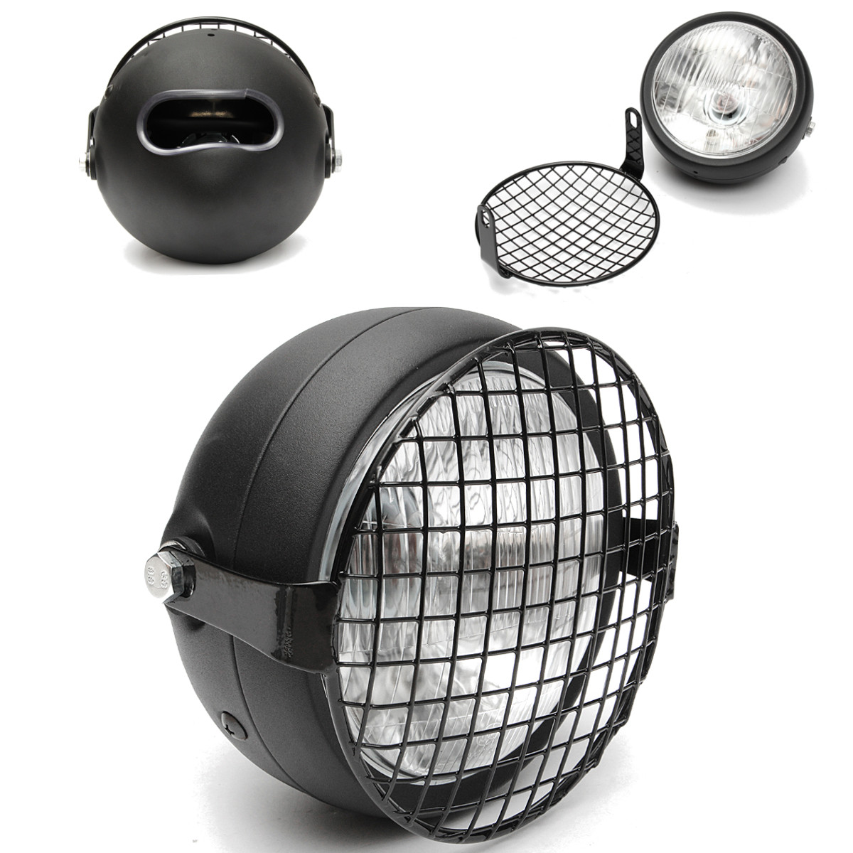 phare moto grille grillge protection noir pour cafe racer bobber old school achat vente. Black Bedroom Furniture Sets. Home Design Ideas