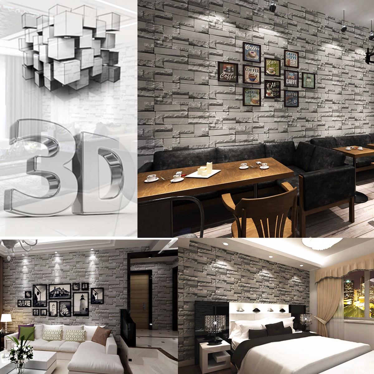 3d Brique Papier Peint Fond Mur Wallpaper Pr Decoration Salon H Tel Bar Achat Vente