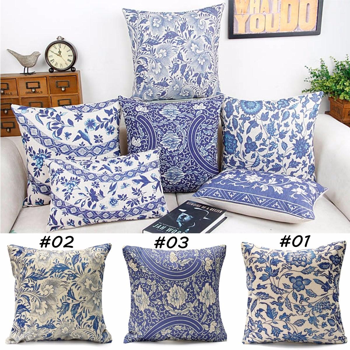 Vintage Oriental Floral Cotton Linen Pillow Case Cushion