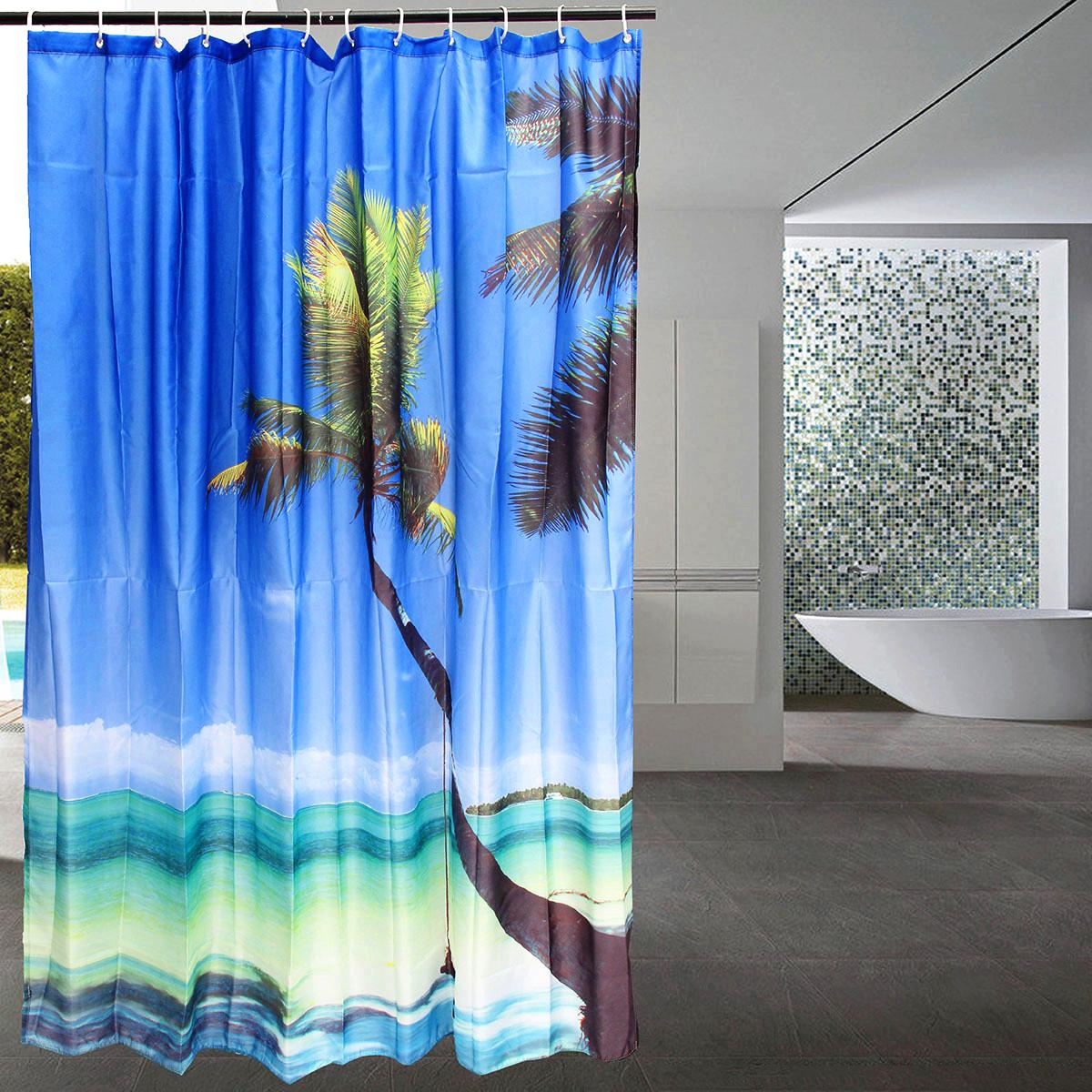 3d salle de bain rideau douche plage mer arbre paysage 12. Black Bedroom Furniture Sets. Home Design Ideas