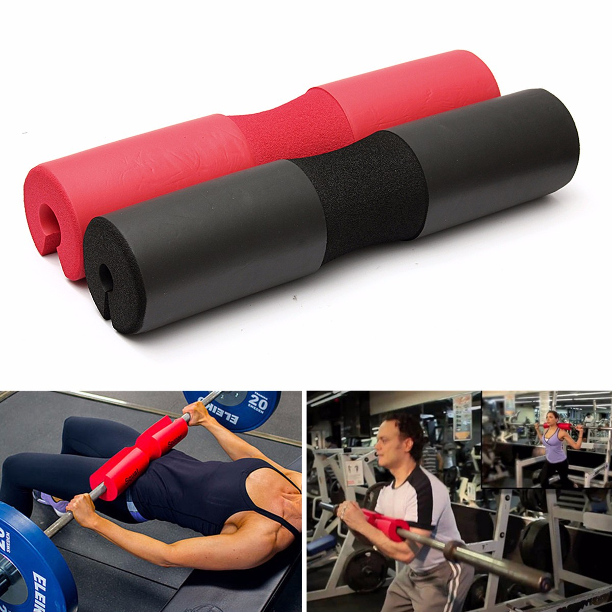 Foam padded barbell bar pad cover for squat weight lifting