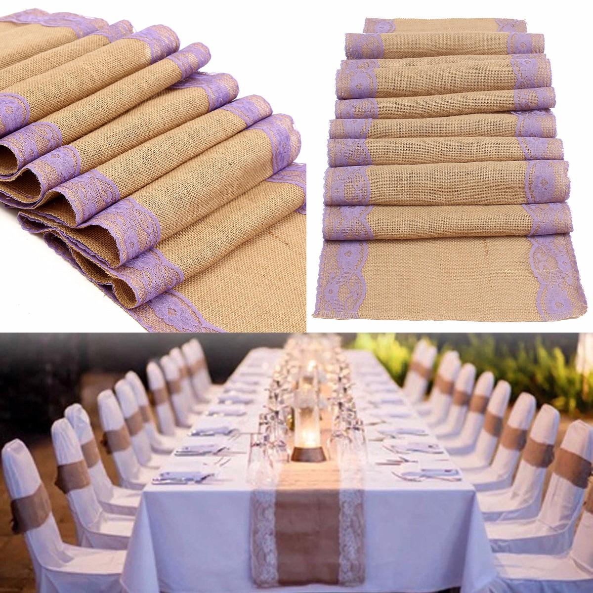 chemin de table jute toile dentelle d coration mariage nappe napperon 30x275cm. Black Bedroom Furniture Sets. Home Design Ideas