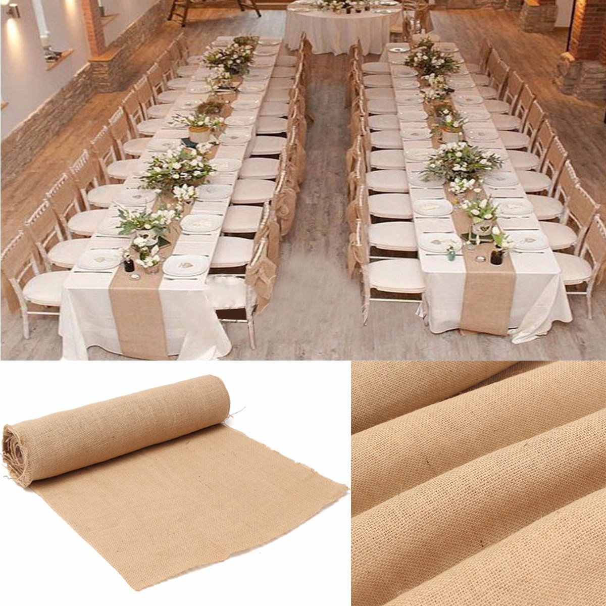 10mx50cm chemin de table jute toile dentelle d coration mariage nappe napperon achat vente. Black Bedroom Furniture Sets. Home Design Ideas