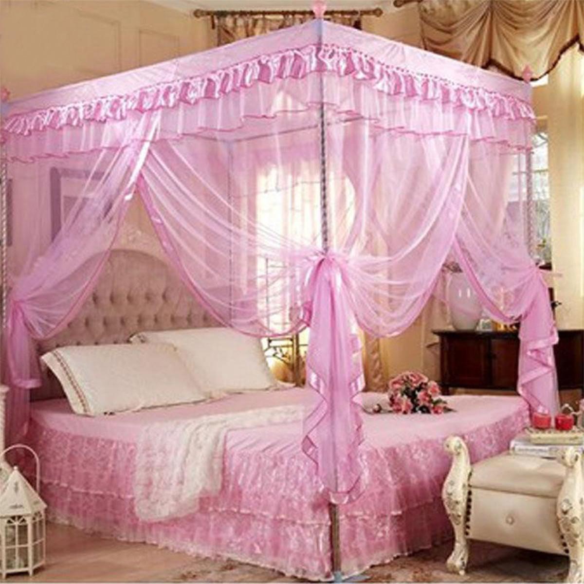 Fabuleux TEMPSA Moustiquaire Ciel De Lit Dome Pr Déco Maison Rose 180*200cm  BW03