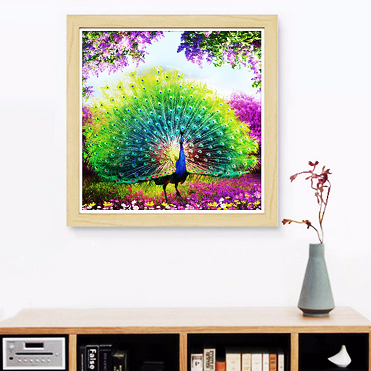 Diy 5d diamond embroidery painting flower peacock mosaic for Home decor 5d