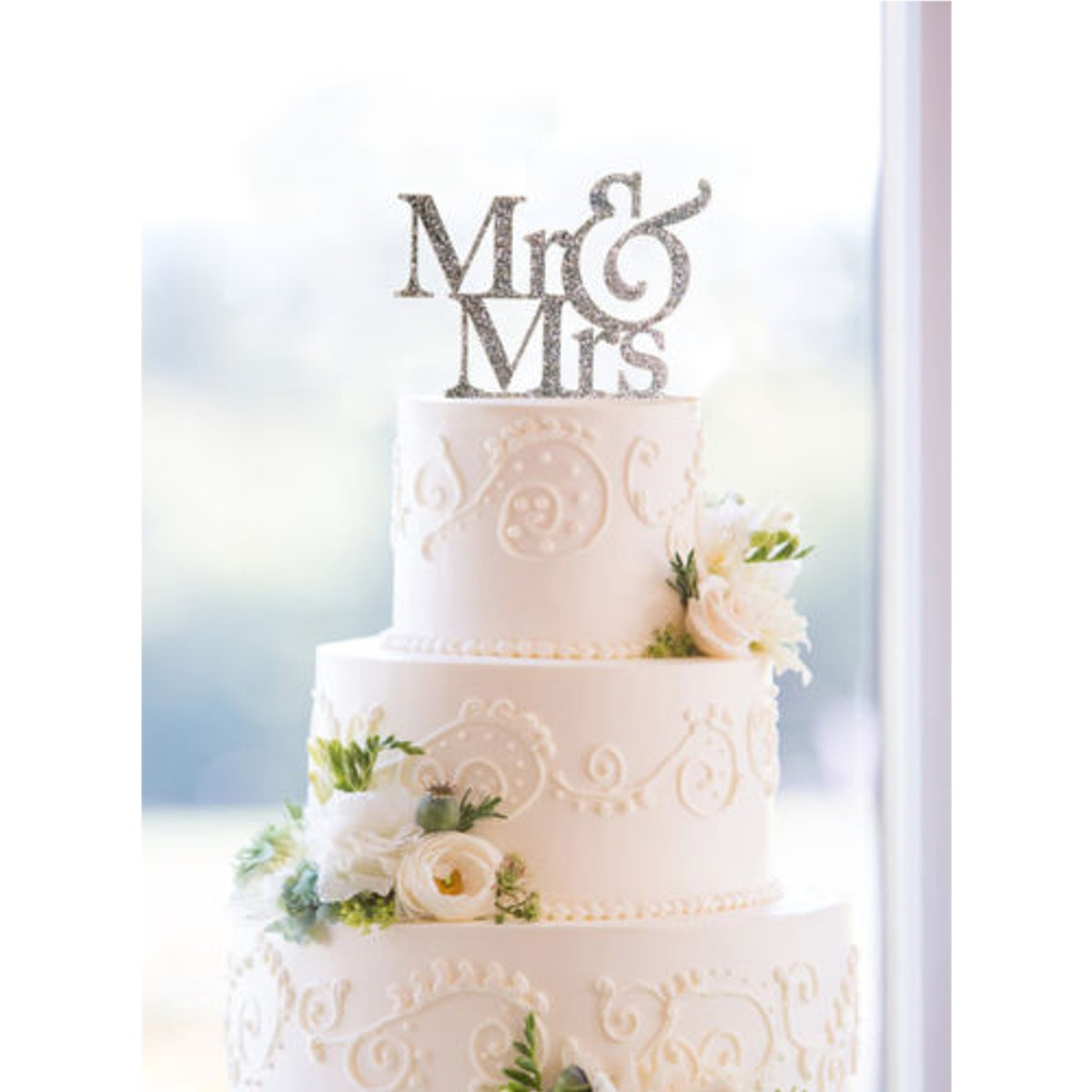 Mr&Mrs Romantic Silver Shiny Cake Topper Wedding Party Top
