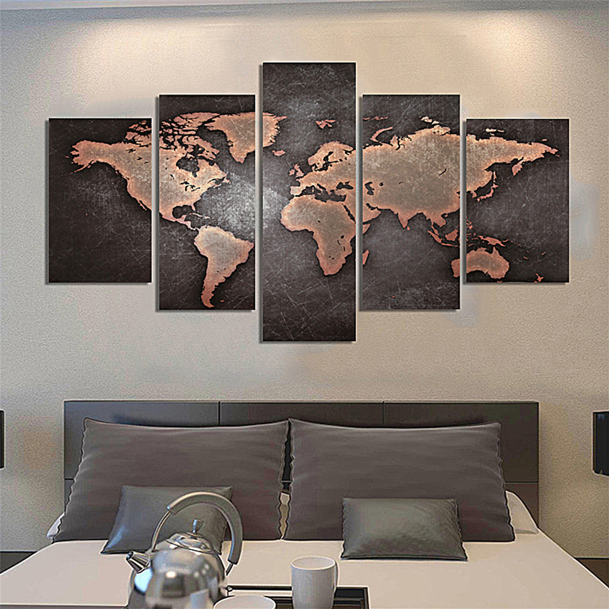 5pcs tableau peinture l 39 huile toile carte monde art. Black Bedroom Furniture Sets. Home Design Ideas