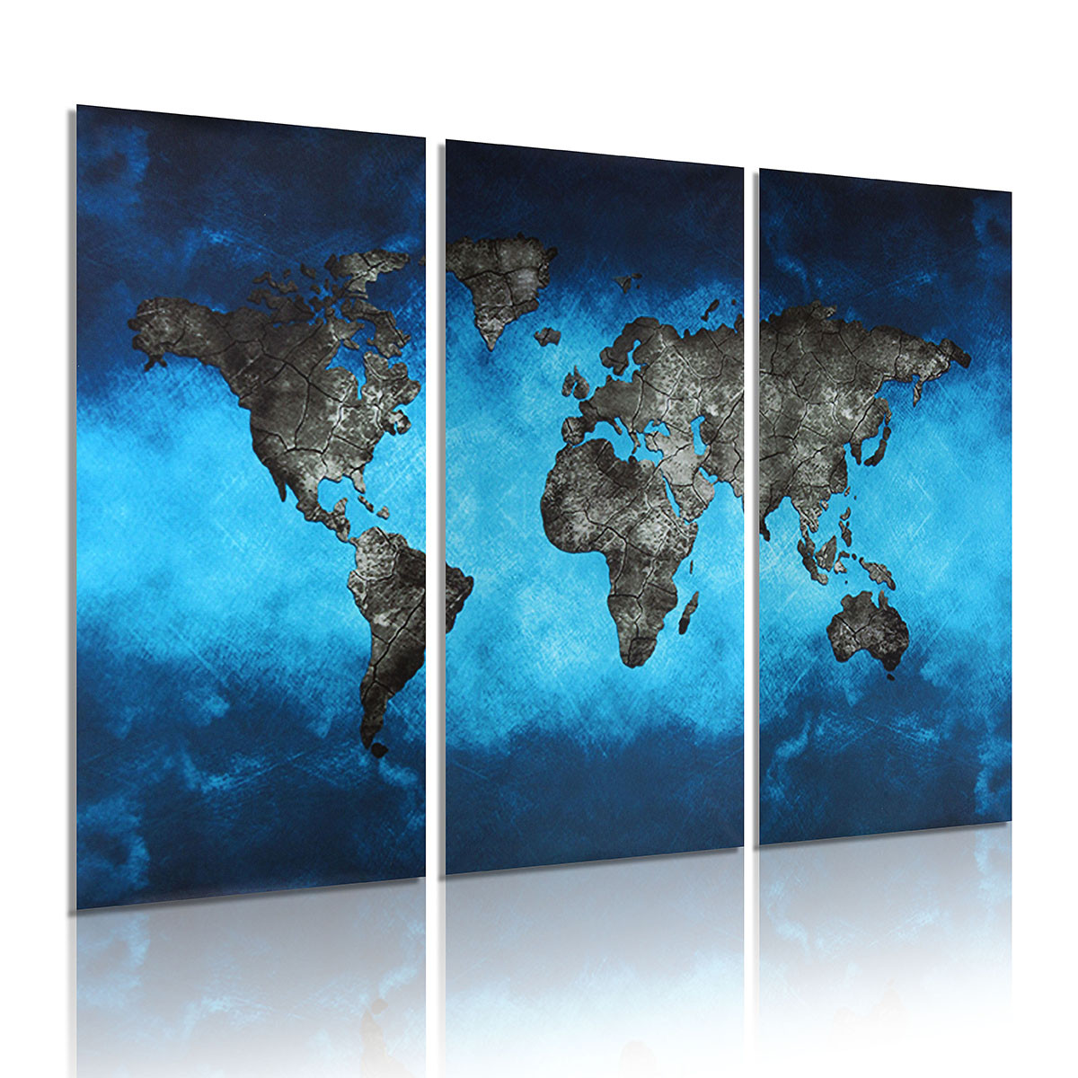 3pcs tableau peinture l 39 huile carte du monde toile art. Black Bedroom Furniture Sets. Home Design Ideas