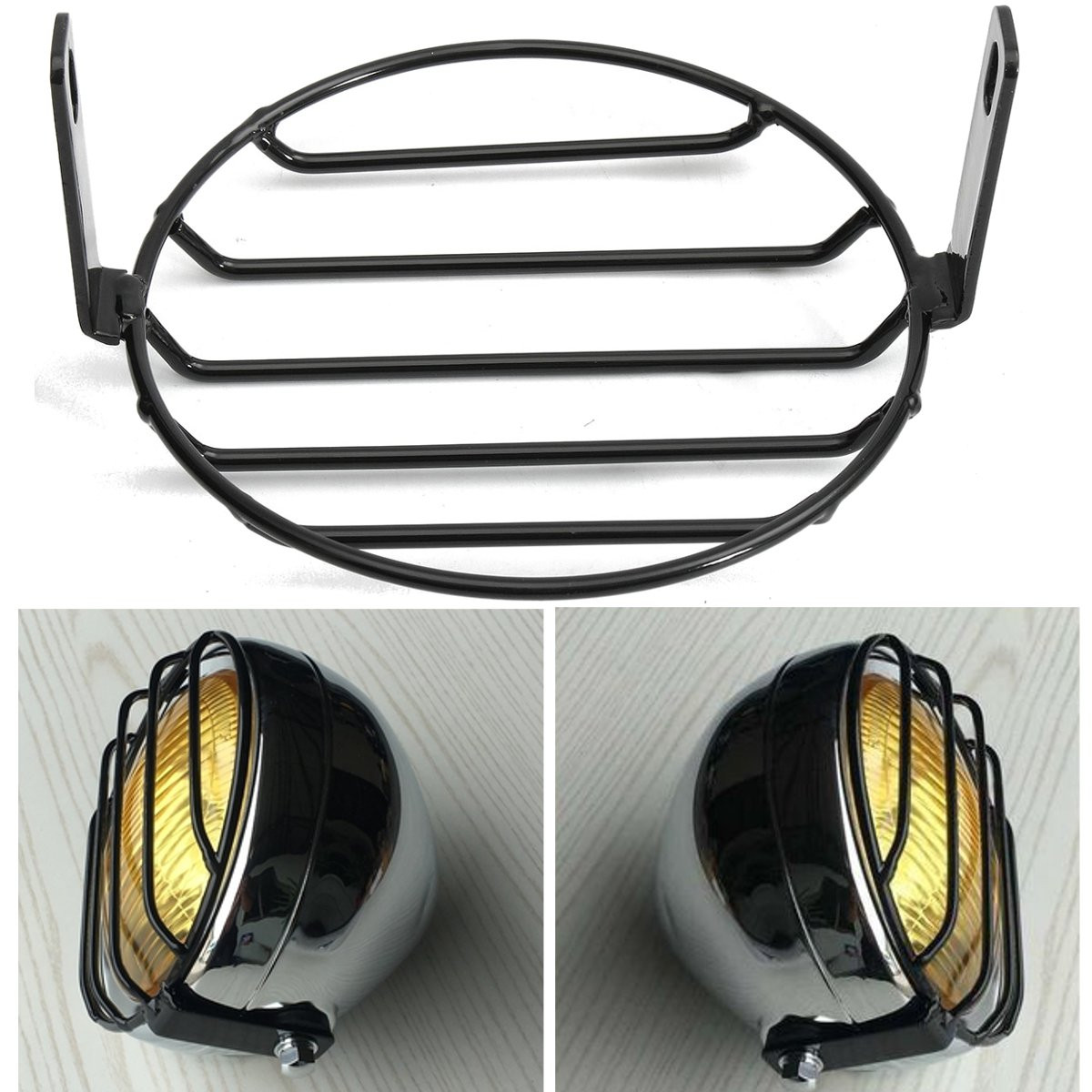 6 4 moto grille r tro phare lampe headlight couvre pour. Black Bedroom Furniture Sets. Home Design Ideas