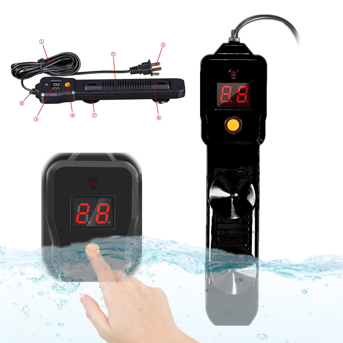lcd 100w auto chauffage chauffe eau submersible ventouse. Black Bedroom Furniture Sets. Home Design Ideas