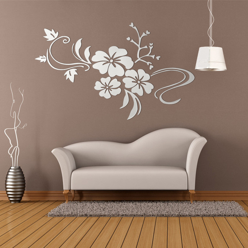 3d miroir fleur sticker autocollant mural acrylique for Stickers miroir