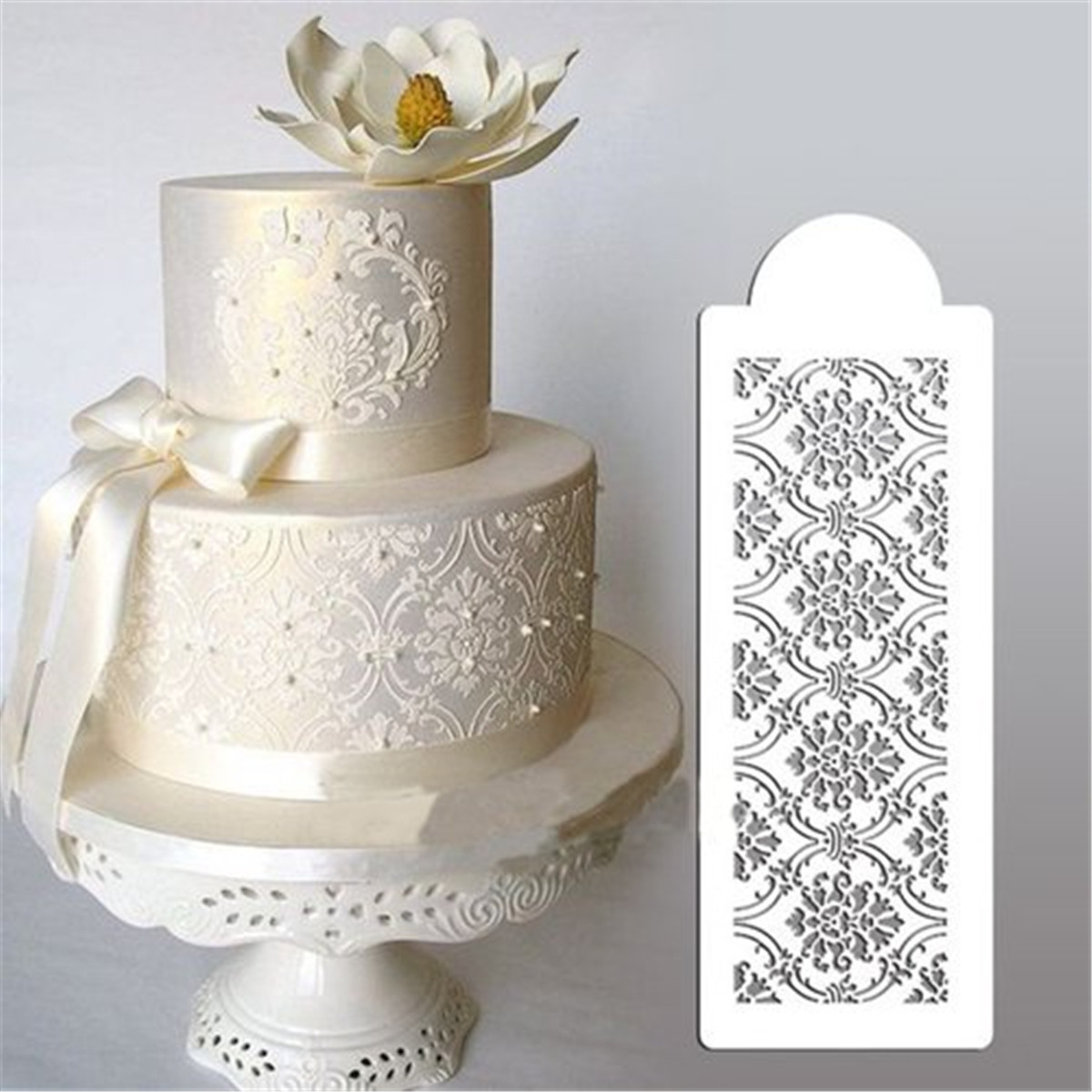 stenciled wedding cake design pochoirs dentelle moule d 233 cor p 226 te sucre fondant g 226 teau 20521