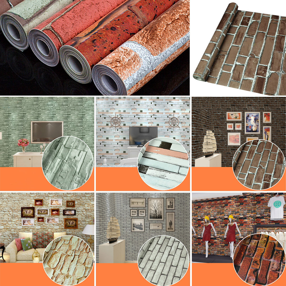tempsa 45cm 10m 3d effet papier peint brique mural. Black Bedroom Furniture Sets. Home Design Ideas