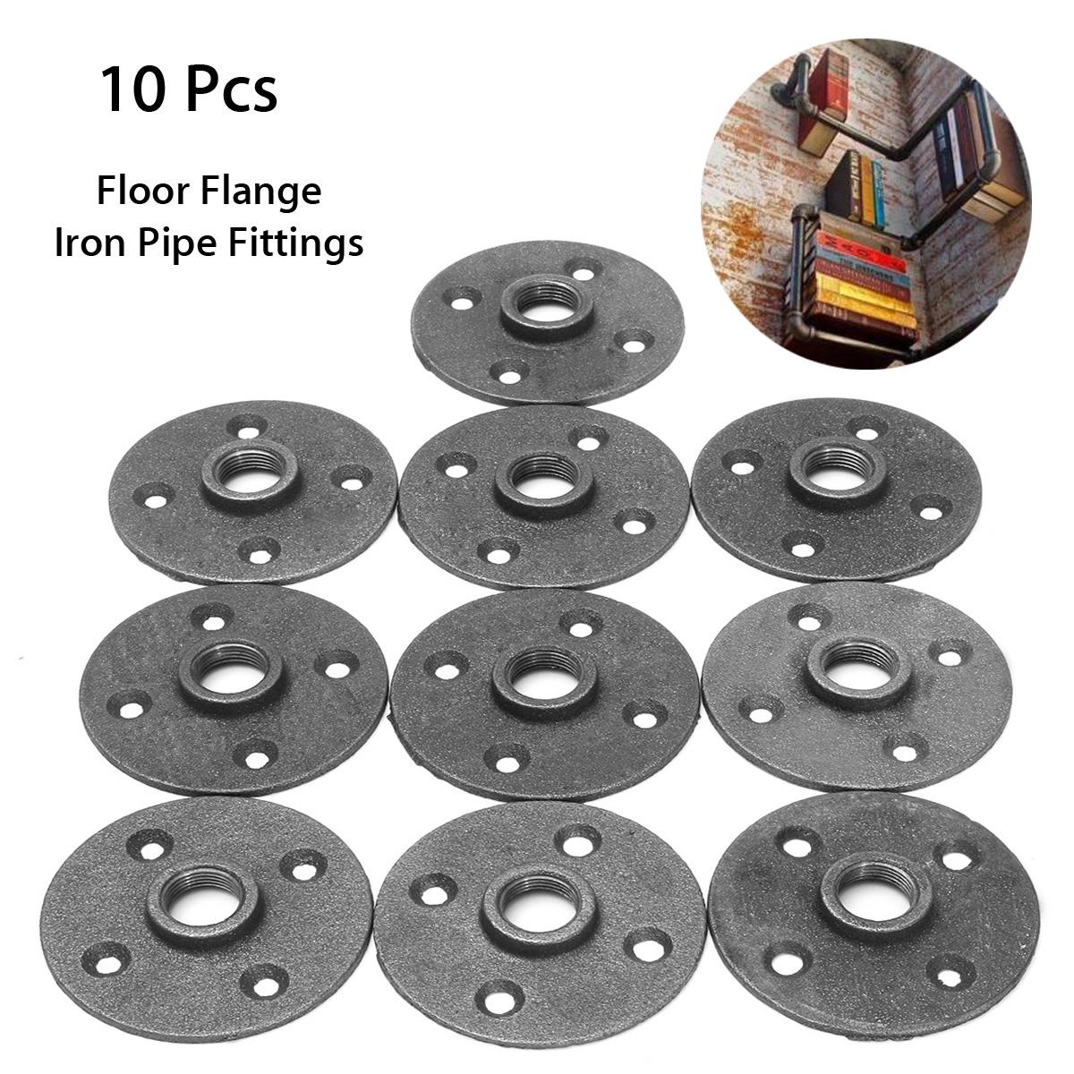 10pcs 1 2 black malleable threaded floor flange iron pipe for 1 in black malleable iron threaded floor flange