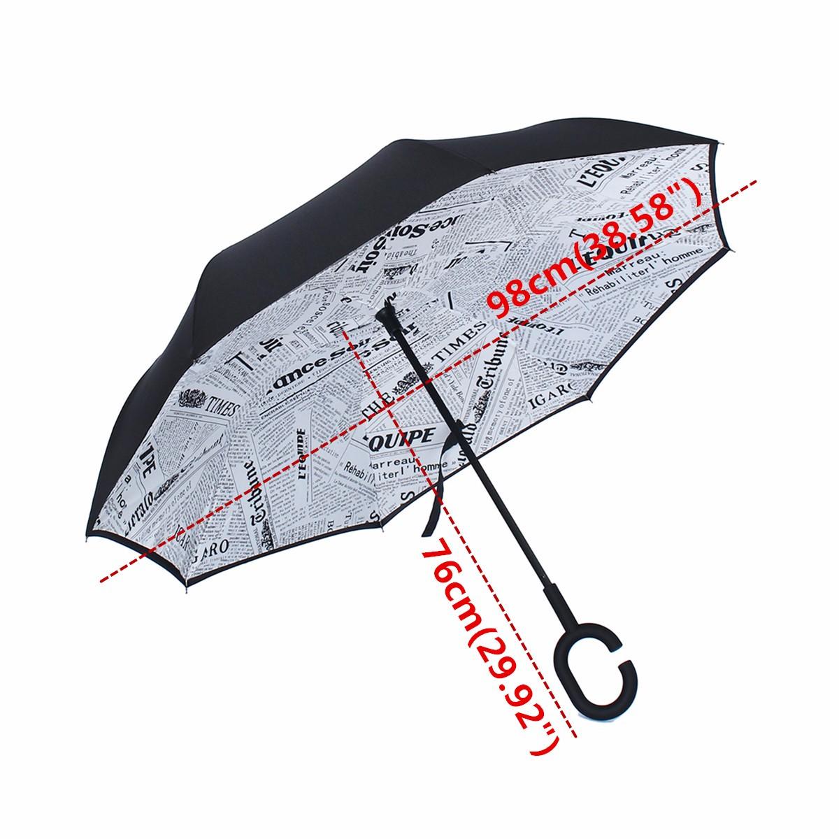 parapluie pliant automatique imprim invers double anti soleil uv vent parasol blanc journal. Black Bedroom Furniture Sets. Home Design Ideas