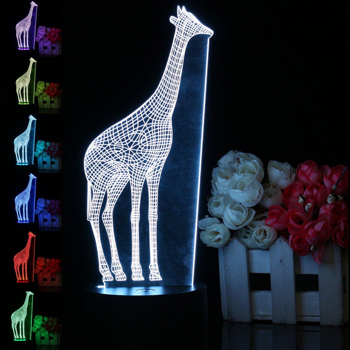 3d Lumière Led Nuit Veilleuse Couleur Girafe Table 7 Lampes De rxBECoeQdW