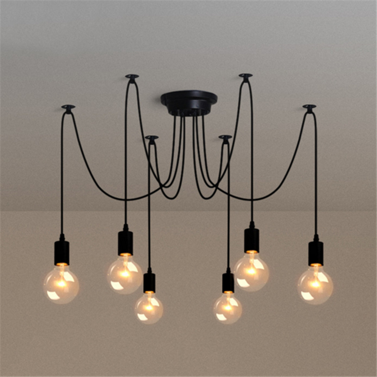 e27 lustre lampe de 6 t te douille suspendu plafonnier luminaire sans ampoule achat vente. Black Bedroom Furniture Sets. Home Design Ideas