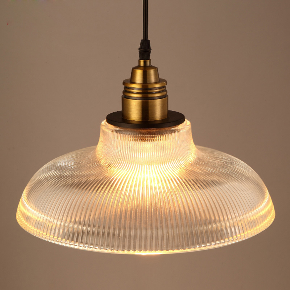 Antique Industrial Glass Pendant Ceiling Light Vintage