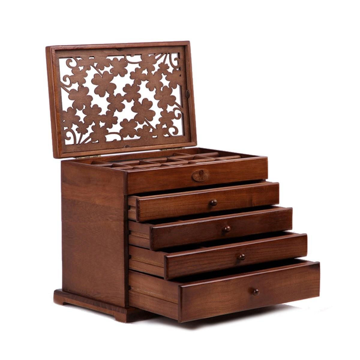 5 étage boite de rangement tiroir présentoir à montre bijoux en bois - Achat / Vente bac de ...