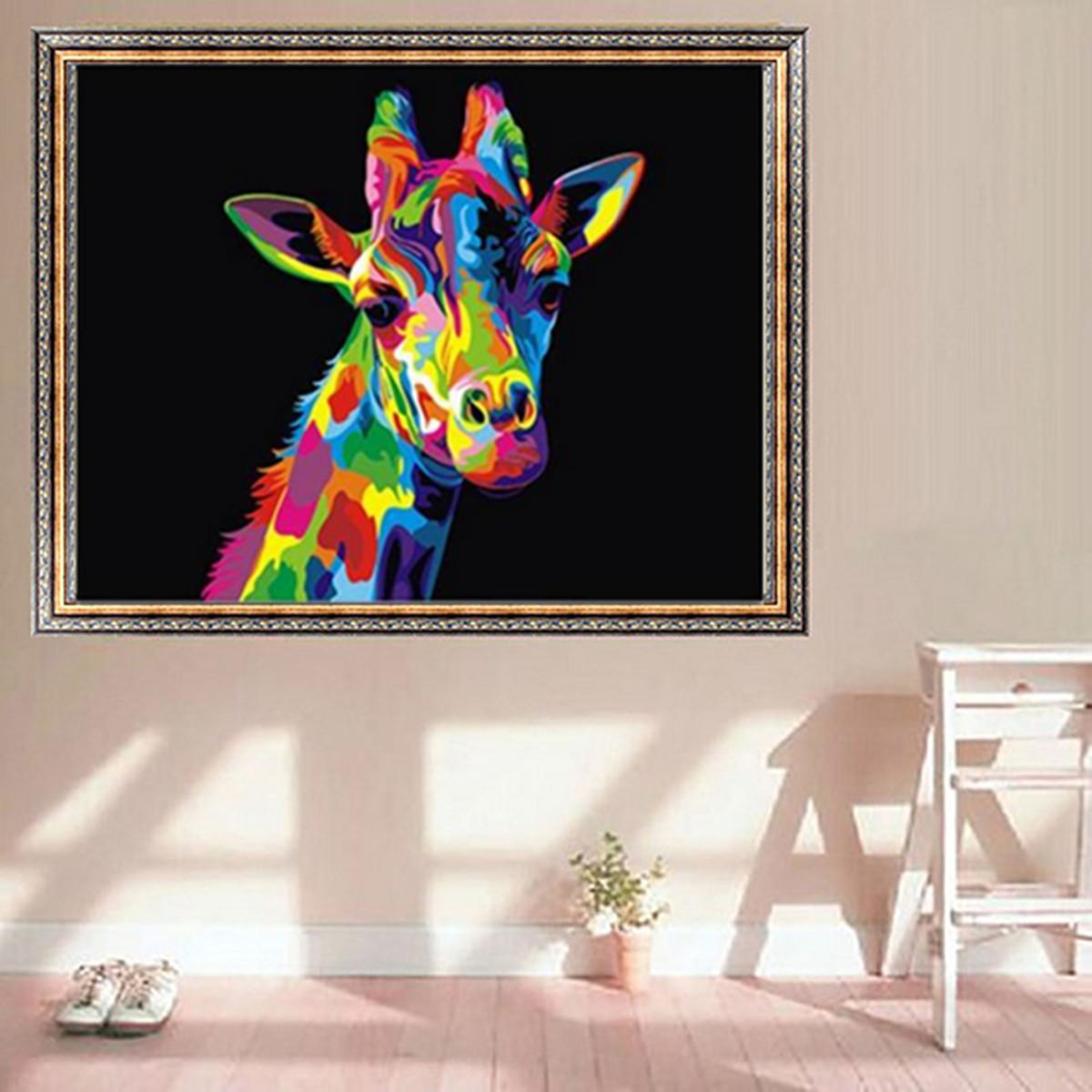 Tempsa tableau peinture girafe animal et cardre sur toile for Decoration tableau peinture