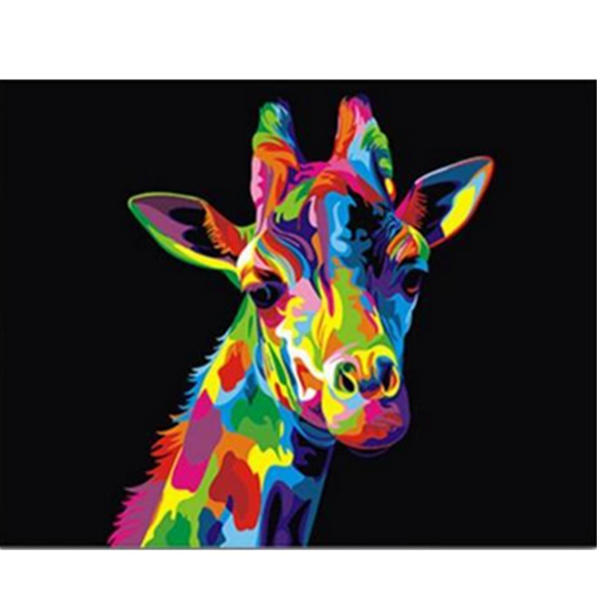 Tempsa tableau peinture girafe animal et cardre sur toile - Dessin de girafe en couleur ...