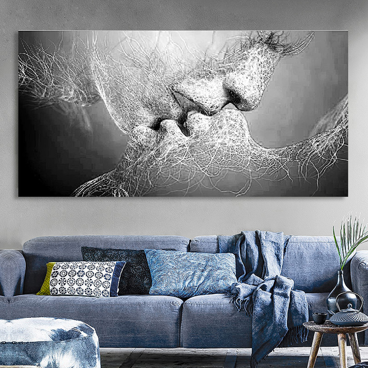 tableau peinture huile toile baiser d 39 amour noir blanc. Black Bedroom Furniture Sets. Home Design Ideas