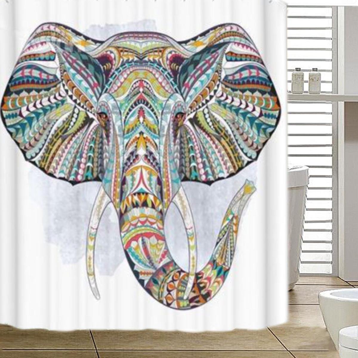tempsa rideau douche el phant color avec crochets tanche. Black Bedroom Furniture Sets. Home Design Ideas