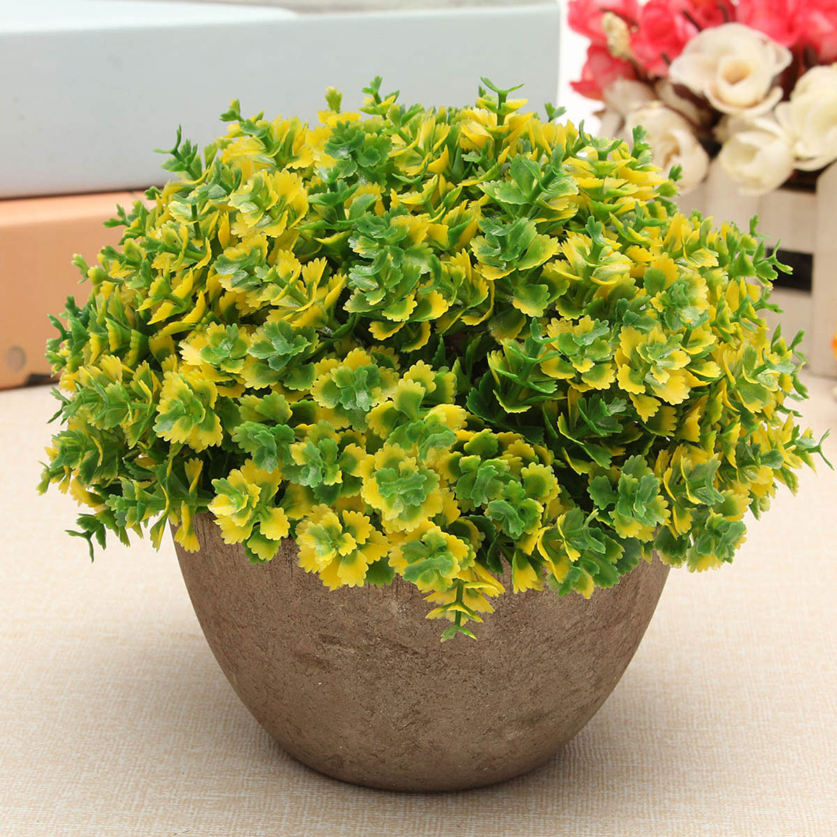 Artificial grass flowers plants in pot home house office for Artificial plants indoor decoration