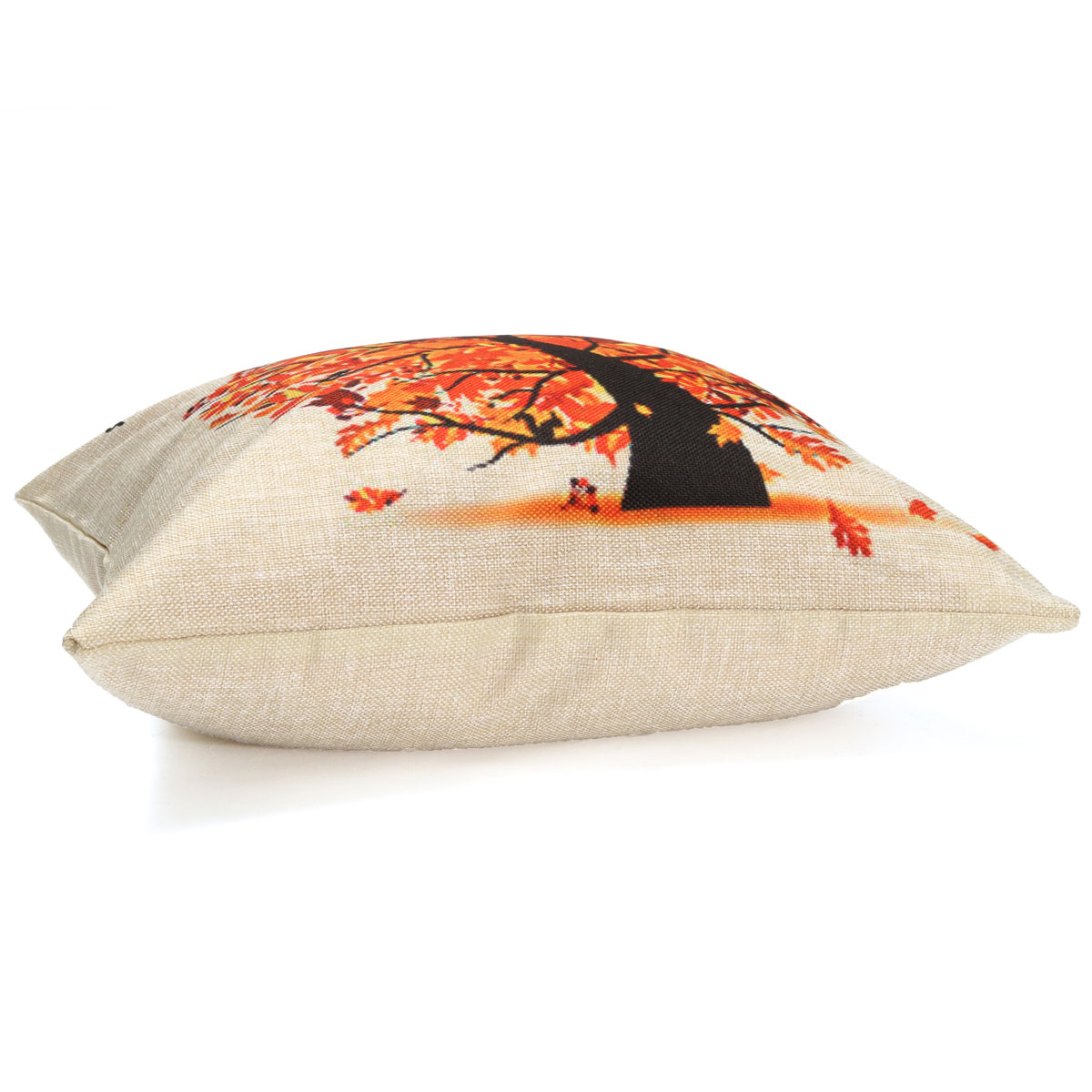 Seasons Tree Cotton Linen Throw Pillow Case Cushion Cover Home Sofa Decoration Dark Orange ...