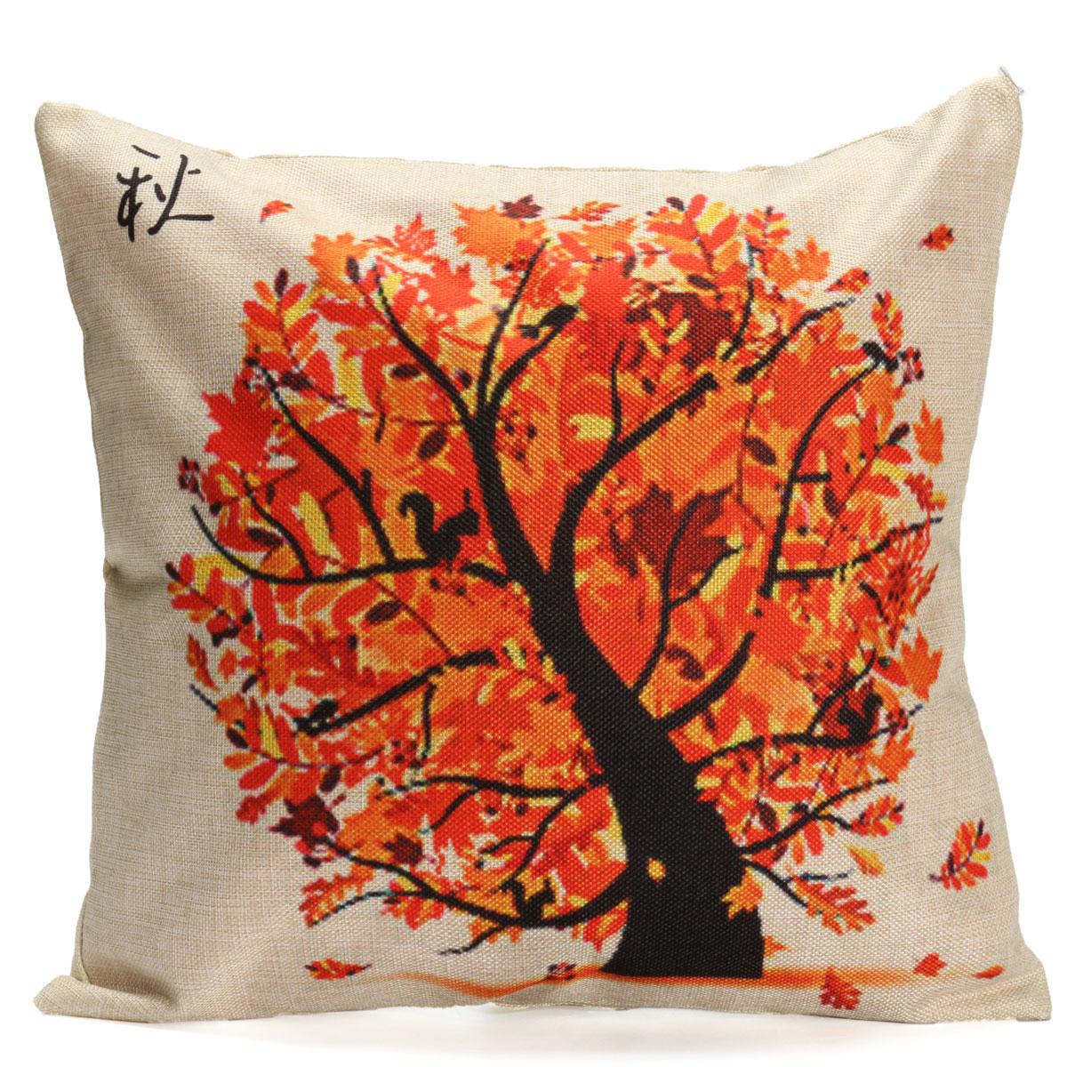 Dark Orange Decorative Pillows : Seasons Tree Cotton Linen Throw Pillow Case Cushion Cover Home Sofa Decoration Dark Orange ...