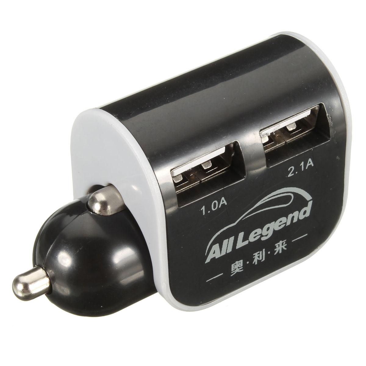 Зарядные устройства Адаптер автомобильного зарядного устройства на 2 USB порта 1.0A / 2.1A для смартфонов (Фото 4)